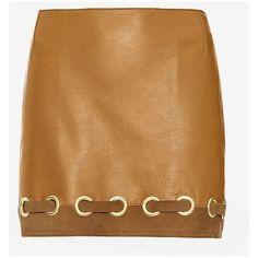 Derek Lam 10 Crosby Grommet Detail Leather Skirt ($489) ❤ liked on Polyvore featuring skirts, mini skirts, eyelet skirt, zipper skirt, real leather skirt, leather skirt and mini skirt