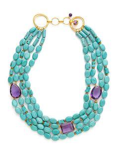 Turquoise & Amethyst Bib Necklace por Bounkit en Gilt