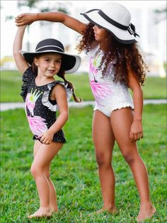 Girls Gold Polka Dot Flutter Sleeve Ruffled Flamingo One Piece Swimsuit (2 Color Options) | Mia Belle Baby Two Piece Swimsuits, One Piece Swimsuit, Mermaid Swimsuit, Girls Dresses, Flower Girl Dresses, Gold Polka Dots, Cute Little Girls, Daughter Love, Mommy And Me