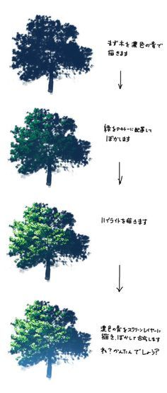 from pixiv.net nature background tree drawing anime color