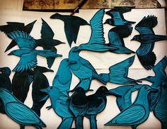 The lino flock so far....... . . . ..#linocut #printmaking #blockprinting reliefprinting #lino  #seabirds #cornwallart #cornwallwildlife  #wildlifeart #birdart #birdartist #wildbird #artiststudio  #inthestudio #art  #illustration #collage  #mixedmedia #wildlife#naturalworld  #animaartist  #mixedmedia #contemporaryprintmaking  #wildlifeartist  #humananimalrelationship