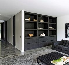 Full height with lighting at top drawers at the bottom Inside A House, Built In Cabinets, Black Cabinets, Cupboards, Deco Design, Living Room Inspiration, Unique Furniture, Interiores Design, Built Ins