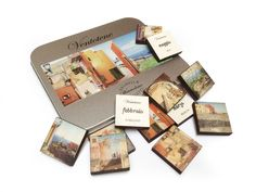 Calendar-puzzle with watercolours pictures of Ventotene city with print on wood and metal.