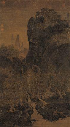 """《秋林飞瀑图》  北宋 范宽 绢本设色 纵181厘米 横99.5厘米 台北故宫博物院藏      范宽学画初期,取法于荆浩、李成,后来立志革新,移居终南、太华诸山中,朝夕对着真实景象,创意构图,最后终于领悟到""""山川造化之机"""",从而形成了自己的风格。此图无款,旧传为范宽所作。图绘秋山栈道瀑布流泉,远处岩关列岫隐约可见,气势磅礴,景色宜人。著录于《石渠宝芨三编》。"""