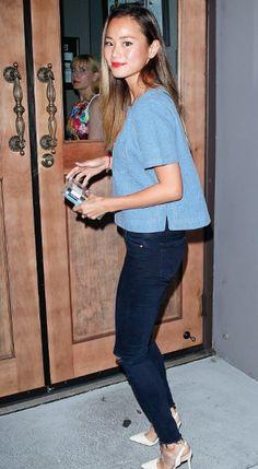 Pointy Nine West heels, dark denim skinnies, blue top