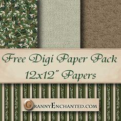GRANNY ENCHANTED'S BLOG: Free Green Camo Digi Scrapbook Paper Pack