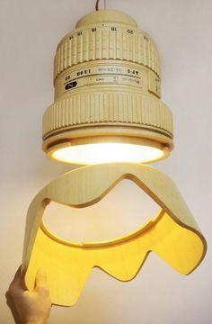 Wooden Camera lens --> Lamp!