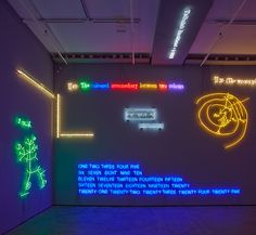 new york's sean kelly gallery is activated by a major installation of neon works by renowned conceptual artist joseph kosuth. Projection Installation, Joseph Kosuth, Neon Moon, Neon Words, Romance Comics, Creators Project, Happy Cartoon, Scenic Design, Modern Sculpture