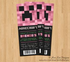 Creeper Invite Minecraft Birthday Ticket Invitation - Printable, Girl, Pink