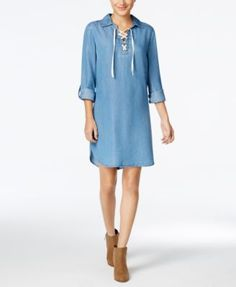 Style & Co Lace-Up Denim Dress, Only at Macy's $11.86 Style & Co.'s denim dress has a fashionably casual feel that is perfect with a pair of booties.