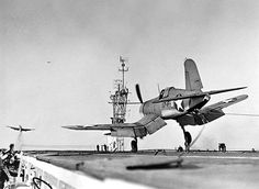 Corsair fighter of US Navy squadron landing on USS Charger, Feb 1943 Source United States Navy National Museum of Naval Aviation Identification Code Added By C. Navy Aircraft, Ww2 Aircraft, Fighter Aircraft, Aircraft Carrier, Military Aircraft, Fighter Jets, F4u Corsair, Ww2 Planes, Panzer