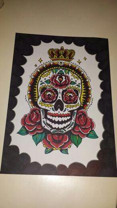 Old school tattoo flash tattoo rose skull promarker sharpie paints