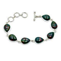 'Forest Shadows' Sterling Silver Rare Natural Bloodstone Bracelet