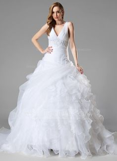 Ball-Gown V-neck Chapel Train Organza Wedding Dress With Lace Beading Sequins Cascading Ruffles (002004781) - JJsHouse