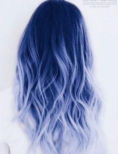 Cute Hair Colors, Pretty Hair Color, Hair Dye Colors, Ombre Hair Color, Blue Ombre, Silver Ombre, Silver Blue Hair, Pastel Hair Colors, Bold Colors