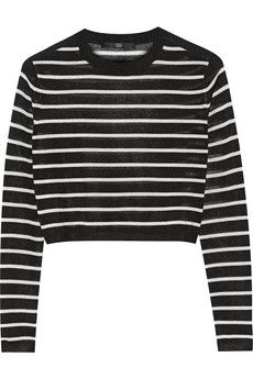 Tibi Cropped striped knitted sweater | NET-A-PORTER