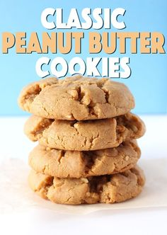 Classic (Vegan) Peanut Butter Cookies- Thick, chewy, classic peanut butter cookies, in vegan form! These cookies have so much peanut-y flav. Vegan Dessert Recipes, Whole Food Recipes, Delicious Desserts, Vegetarian Recipes, Yummy Food, Classic Peanut Butter Cookies, Healthy Afternoon Snacks, Healthy Protein Snacks, Vegan Baking