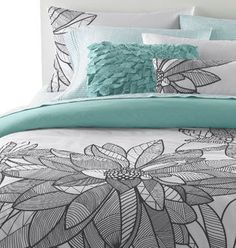teal and grey bedding. This would probably work well with the grey and white that I want as my room colors.