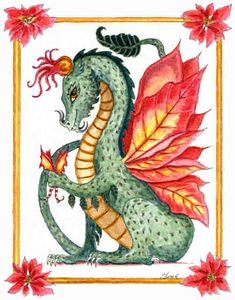 Christmas-Poinsettia Dragon by Heidi Buck