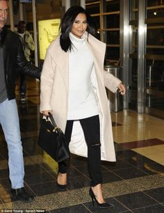 Sophisticated: The raven-haired beauty jet into Washington D.C. on Thursday, wearing a reg...
