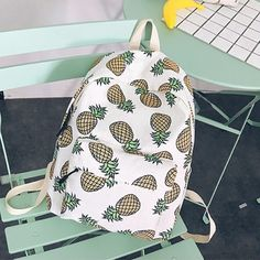 339093744fda Women 3D Print Pineapple Fruits Backpack Schoolbag Shoulder Travel Bag  Rucksack