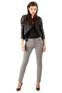 Pantalon coupe slim, noir.