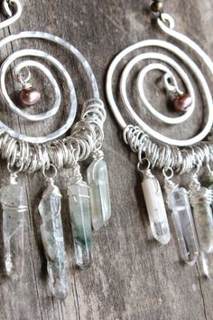 Sterling Silver Bohemian Earrings Spiral Earrings with Quartz Crystals