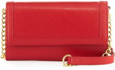 Neiman Marcus Leather Phone Case Crossbody Bag, Red