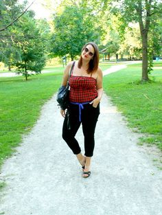 In Kinsey's Closet | Buffalo plaid tank top with black jeans