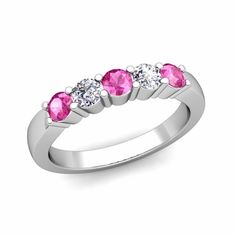 Build Wedding Anniversary Ring Band in 5 Stone Ring Setting with Diamonds and Gemstones