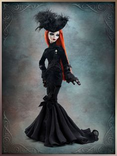 """EVANGELINE is 19"""" tall.  Hand-painted features and  changeable, inset pale blue eyes - with a flame red wig"""