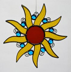 Stained Glass SUN Suncatcher Lemon Yellow by stainedglasswhimsy