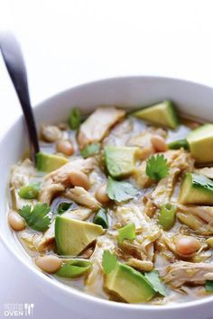 Green chicken chili with avocados