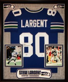 Seahawks spirit: Premera pin to win contest. Met Steve Largent as a child at B&I.if anyone remembers in Tacoma, WA. My only signed autograph! Hope my son gets the same chance! Football Signs, Football Love, Football Gear, Seahawks Football, Seattle Seahawks, Best Man Caves, Framed Jersey, Sports Jerseys, 12th Man