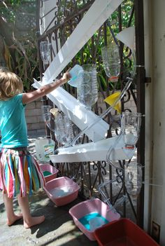 Combine two kids favorites- a water wall and ball run in one!  What kid wouldn't LOVE this?