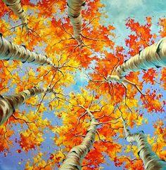 Ivan Alifan Jdanov - Arte y Pinturas Autumn Painting, Autumn Art, Watercolor Trees, Watercolor Paintings, Woman Painting, Painting & Drawing, Canadian Painters, Art Fair, Tree Art