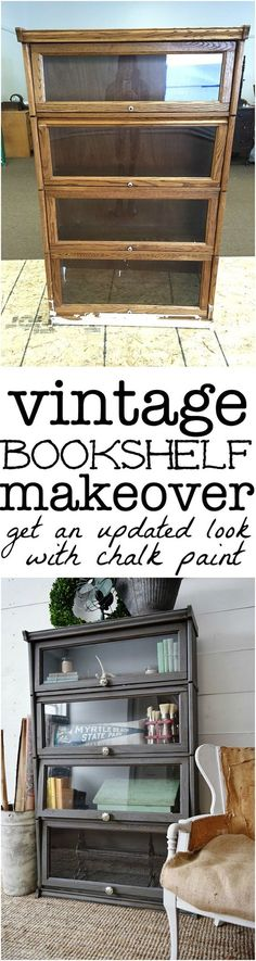 Vintage bookshelf makeover - see how to get an updated quick & easy look with chalk paint! A must pin to update your furniture.:
