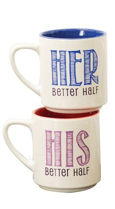 The perfect pair of mugs // his + her better half #product_design