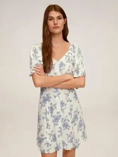 MANGO Women White & Blue Floral Printed Panelled A-Line Dress