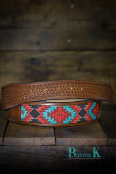 Busted K brand beaded inlay style belts. Beaded Belts, Beaded Jewelry, Beaded Bracelets, Seed Bead Patterns, Beading Patterns, Leather Projects, Leather Crafts, Cowgirl Style, Western Style