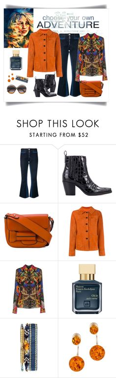 """""""Drome Orange Suede Fitted Jacket Look"""" by romaboots-1 ❤ liked on Polyvore featuring Courrèges, Ganni, Tila March, Drome, Philipp Plein, Maison Francis Kurkdjian, Amenapih, Be-Jewelled and Christian Dior"""
