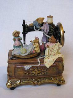 Music Box Nostalgia nostalgic sewing machine with Teddy Bear
