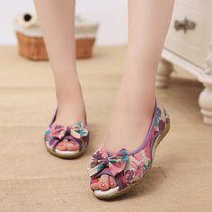 Flower Print Bowknot Flax Peep Toe National Wind Slip On Flat Shoes