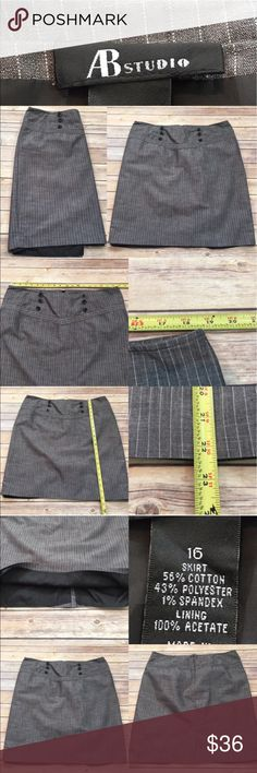🍭Size 16 AB Studio Pinstriped Button Pencil Skirt Measurements are in photos. Normal wash wear, no flaws. A2  I do not comment to my buyers after purchases, due to their privacy. If you would like any reassurance after your purchase that I did receive your order, please feel free to comment on the listing and I will promptly respond.   I ship everyday and I always package safely. Thank you for shopping my closet! AB Studio Skirts Pencil