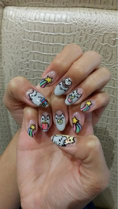 User  DAiSYxCRAZI's friend's Pusheen themed nails. (Took her 2 hours!) - Imgur