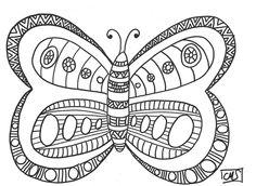 Before introducing our new project to decorate the Children's Hospital, here is a coloring butterfly. Each of my students colored a butterfly and displayed them on the wall of the hallway, around the classroom door. It's spring ! Mandalas Painting, Diy Butterfly, Zen Doodle, Childrens Hospital, School Life, Colouring Pages, Pop Art, Projects To Try, Arts And Crafts