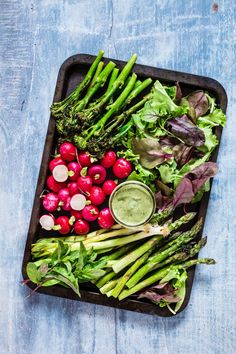 Spring Vegetable Platter And Avocado Green Goddess Dip - asparagus, broccoli, radishes, sorrel and mint - recipesfromapantry.com