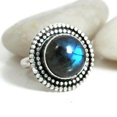Blue Labradorite Ring Sterling Silver Size by BellaBijouJewellery, $134.00