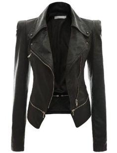 Doublju Women's Faux Leather Power Shoulder Jacket $29.99 - $59.99 on amazon.com in black, beige and khaki (dark olive drab)