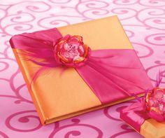 Hot Pink & Orange Wedding Guest Book